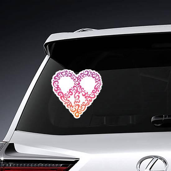 Retro 60s Heart PeaceSign Sticker example