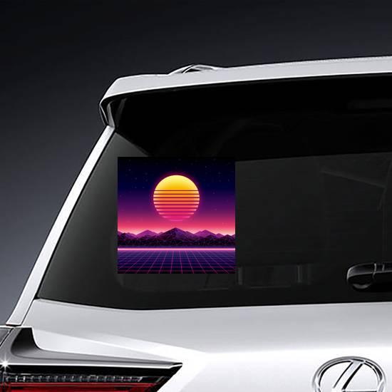 Retro Futuristic Background Sun Sticker example