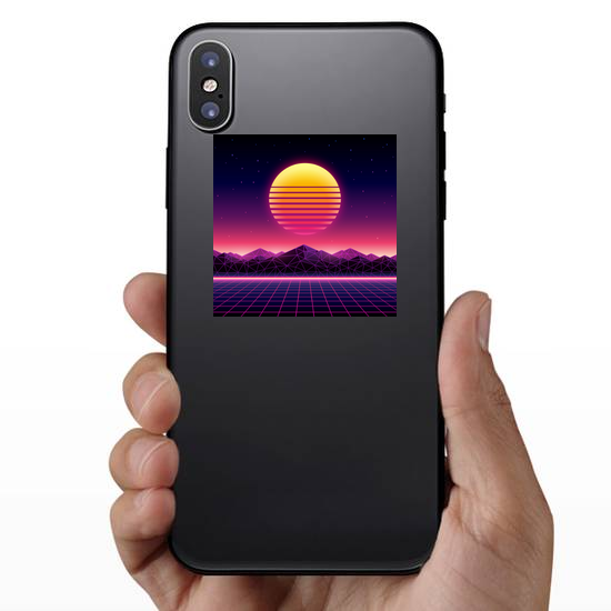 Retro Futuristic Background Sun Sticker