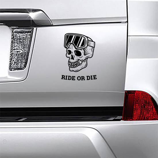 Ride Or Die Snowboard Skull Sticker example