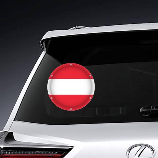 Round Metallic Flag Of Austria Sticker example