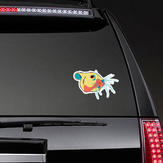 Saber-toothed Hamster Head In Bright Cheerful Colors Sticker