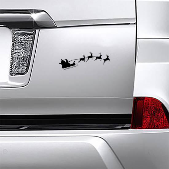 Santa's Sleigh With Four Reindeer Sticker
