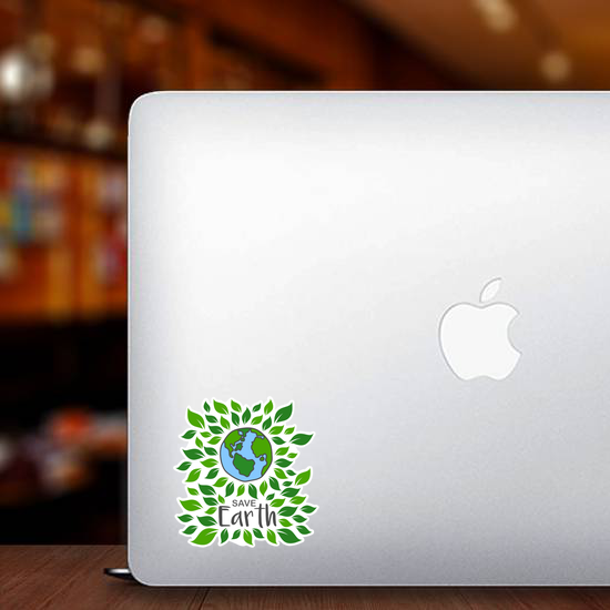 Save Earth With Leaves Sticker