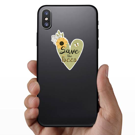 Save The Bees Flower Heart Sticker