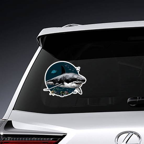 Shark Swimming At The Bottom Of The Sea Sticker