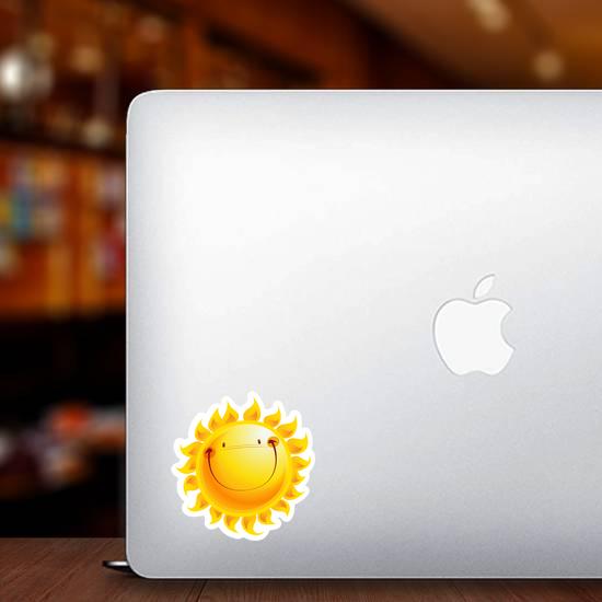 Shining Yellow Smiling Sun Cartoon Sticker