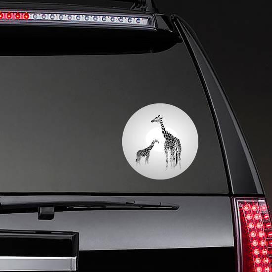 Silhouette Of  Giraffe With Her Baby Sticker
