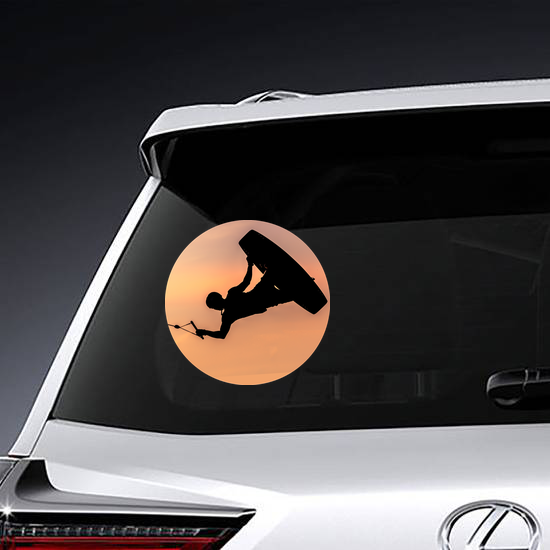 Silhouette Wakeboarder Making Tricks On Sunset Sticker
