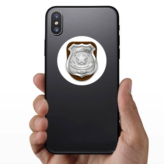 Silver Police Badge On Leather Sticker