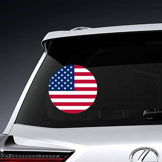 Simple American Flag Circle Sticker example