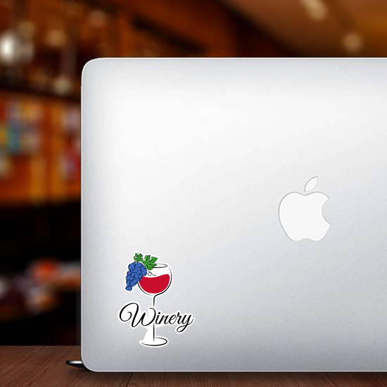 Simple Winery With Glass Of Red Wine And Grapes Sticker