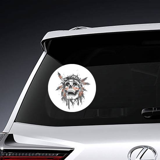 Skull Of An Indian Warrior Sticker example