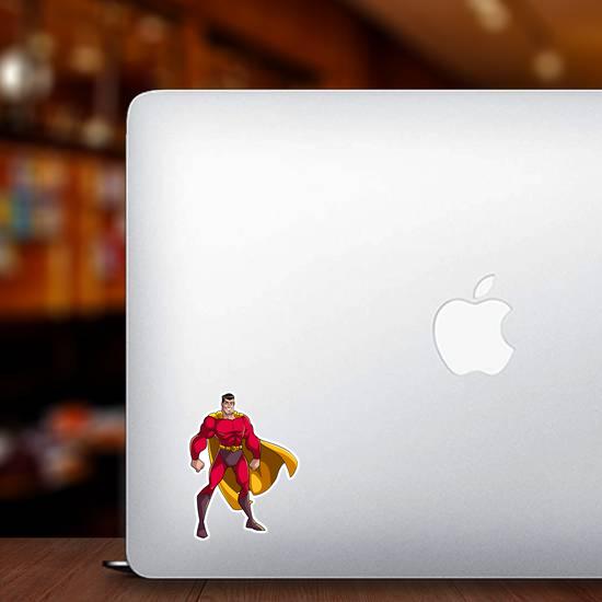 Smiling Superhero Standing Tall Sticker
