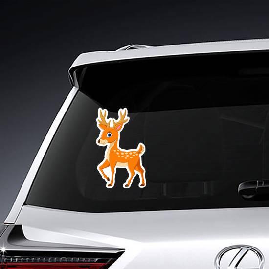 Staring Cartoon Deer Sticker