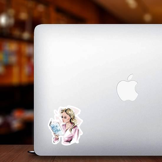 Stylish Blonde Hair Girl Reading A Book Sticker