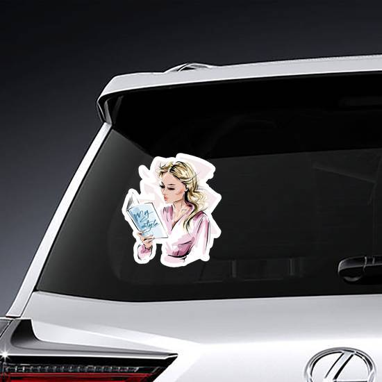 Stylish Blonde Hair Girl Reading A Book Sticker example