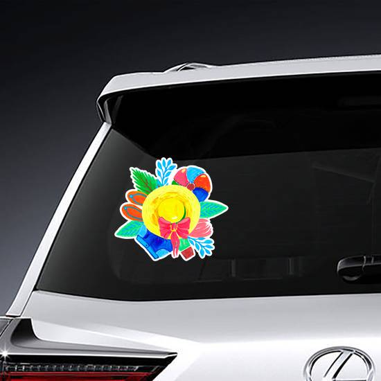 Summer Accessories For Travel And The Beach Sticker example