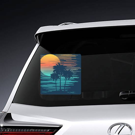 Sunset On Tropical Beach With Palm Tree Sticker