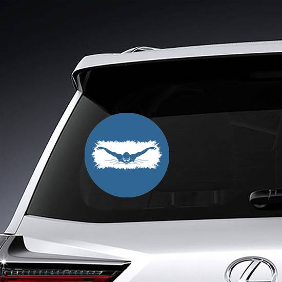 Swimming Butterfly Man Swimming Blue Sticker example
