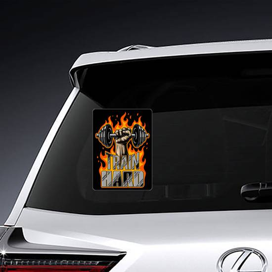 Train Hard Fist And Flame Sticker