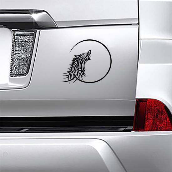Tribal Wolf Howling At Moon Sticker