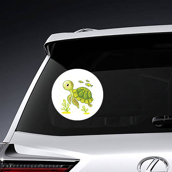 Turtle and Fish Ocean Sticker