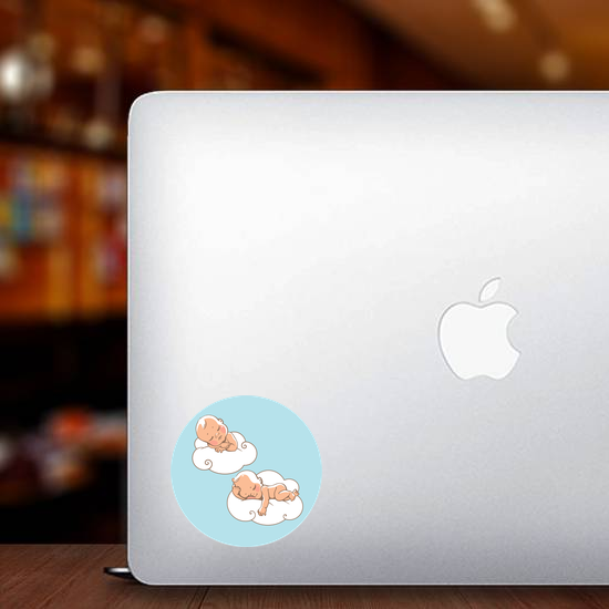 Two Babies Sleeping on Clouds Sticker