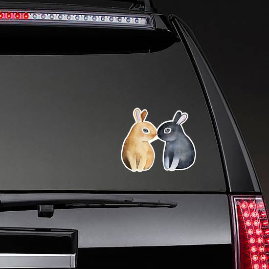 Two Cute Bunnies Kissing With Noses Sticker
