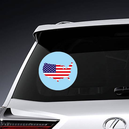 USA Flag In Map Circle Sticker example