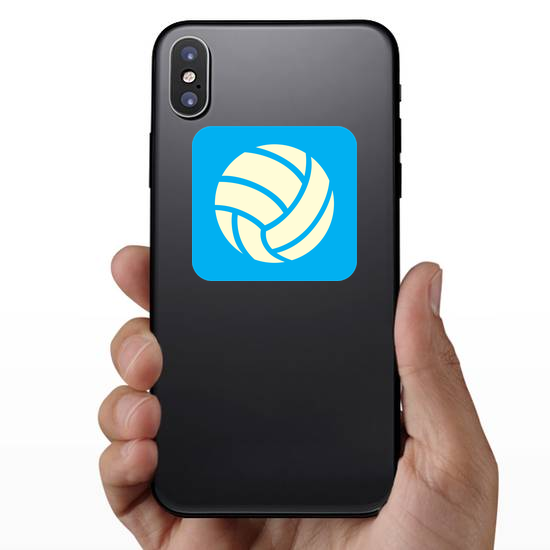 Volleyball Icon On Blue Background Sticker