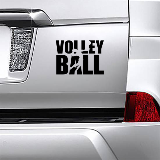 Volleyball Text With Player Sticker