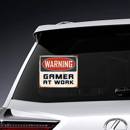 Warning Gamer At Work Sign Sticker example
