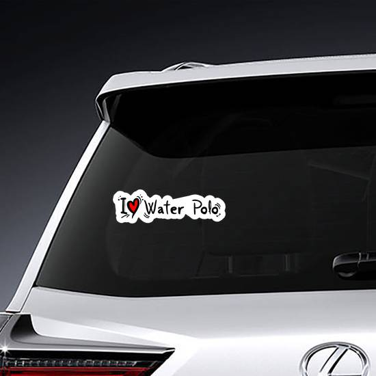 Water Polo Love Heart Text Sticker
