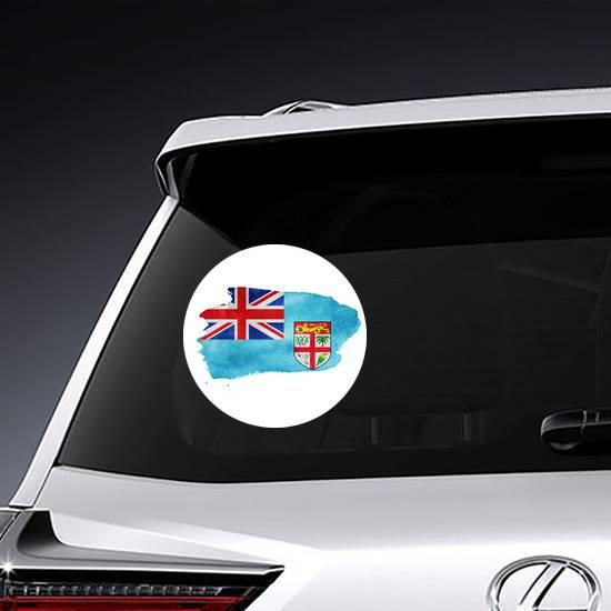 Watercolor Fiji Flag Sticker example