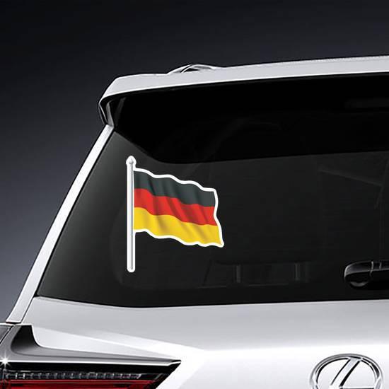 Waving German Flag On Pole Sticker example