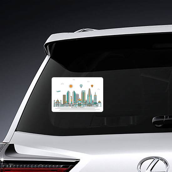 Welcome To Mexico Detailed Skyline Sticker example
