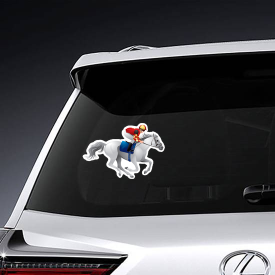 White Derby Horse Sticker