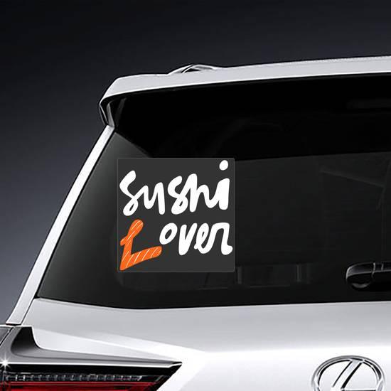 White Sushi Lover Lettering Sticker