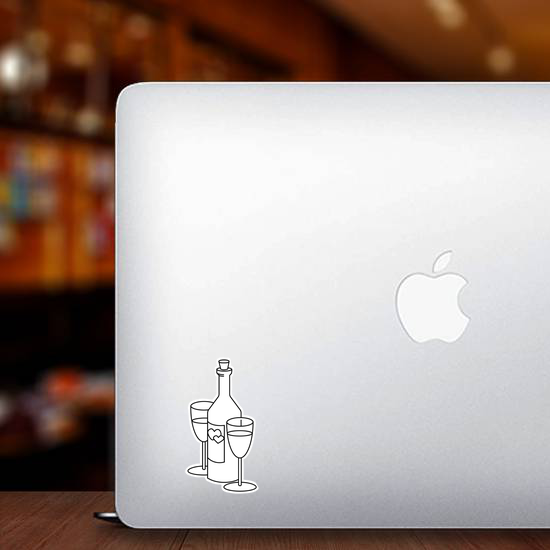 Wine Bottle With Glasses Sticker