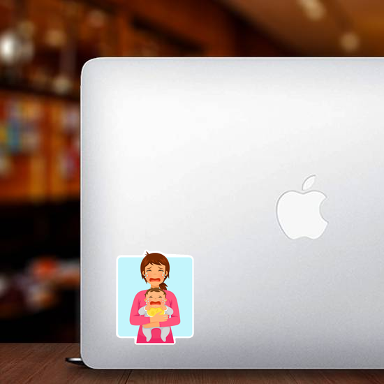 Young Mother and Baby Crying Sticker