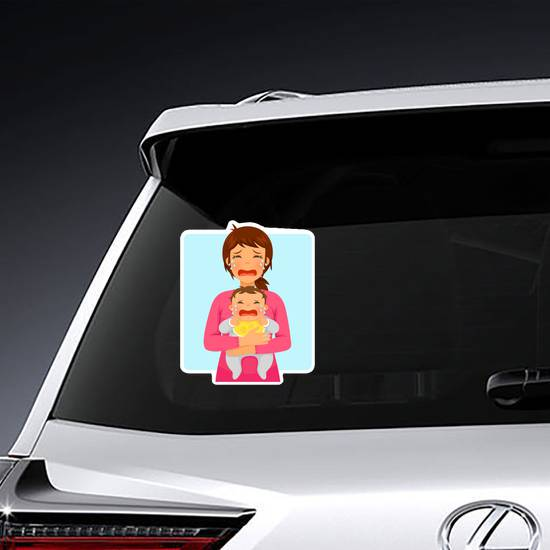 Young Mother and Baby Crying Sticker example