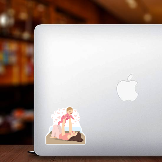 Young Mother and Baby Sticker
