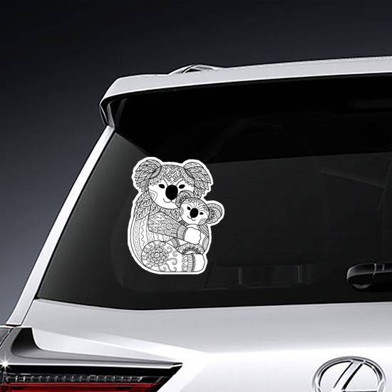 Zentangle Mother and Baby Koala Sticker