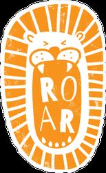 Fun Cartoon Lion Head Roar Sticker