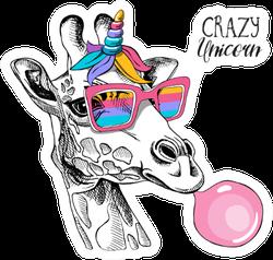 Fun Giraffe In A Rainbow Glasses Crazy Unicorn Sticker
