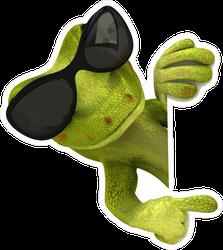 Fun Lizard With Sunglasses Pointing Sticker