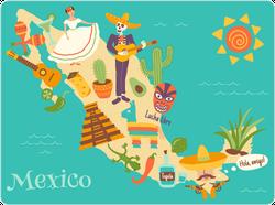 Fun Mexico Map Sticker