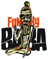 Funky Baba Yogi Holding A Joint Sticker