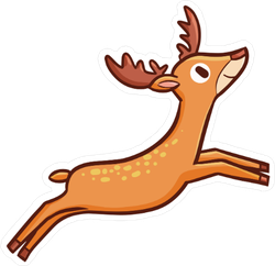 Funny And Cute Deer Jumping Sticker